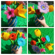 3D origami flower bouquet and vase