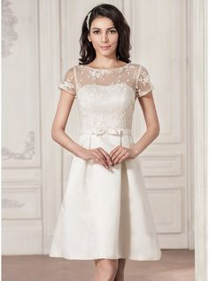 A-Line/Princess Scoop Neck Knee-Length Satin Lace Wedding Dress With Bow(s) (002059188)