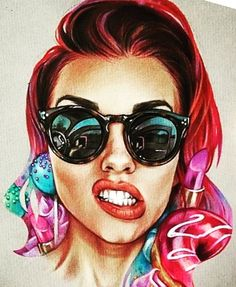 With skull reflection on enses. And mf baddest female written beliw Body Art Tattoos, Girl Tattoos, I Tattoo, Art Pop, Drawing Sketches, Art Drawings, Art Visage, Wow Art, Portraits