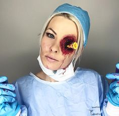 "GRAPHIC, SHOT in the EYE, Doctor scrubs nurse, realistic gory ""eye love my job"" MAKEUP 