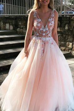 V Neck Sleeveless Tulle Prom Dress With Flowers And Beads