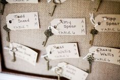 Vintage keys for escort cards homemade by the Bride: Rustic-Vintage Country Wedding and Barn Ceremony at Cedarwood | Cedarwood Weddings | Jen and Chris Creed Wedding Photography