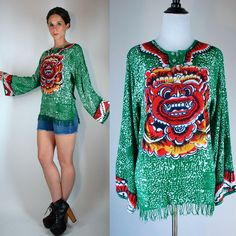 Vintage 70s Cotton Gauze Ethnic Tunic w/ Long Bell Sleeves. Boho Hippie Festival Dragon Green Mini Dress Fringe Shirt Extra Small - Small