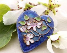 anniversary copper pendant cobalt blue necklace heart pendant for wife gift for girlfriend cloisonne enamel jewelry unique Metal Clay Jewelry, Bird Jewelry, Ceramic Jewelry, Enamel Jewelry, Pendant Jewelry, Jewelry Art, Unique Jewelry, Flower Jewelry, Jewellery