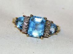 Sale! Designer 1.72 TCW ESTATE BLUE TOPAZ AND DIAMOND 10K YELLOW GOLD RING Sz 7 #SolitairewAccents