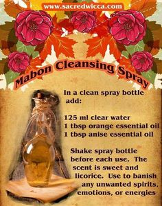 Mabon Cleansing Spray – Witches Of The Craft® Mabon, Samhain, Autumnal Equinox, The Embrace, Orange Essential Oil, Essential Oils, Sabbats, Practical Magic, Beltane