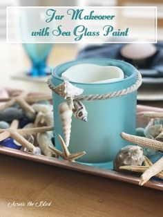 Coastal Jar Makeover with Sea Glass Spray Paint Across the Blvd Crafts With Glass Jars, Sea Glass Crafts, Sea Crafts, Sea Glass Art, Mason Jar Crafts, Bottle Crafts, Glass Paint, Mason Jars, Stained Glass