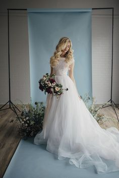 Holly gown by Elizabeth Cooper Design | Photo by Cassandra Farley Photography | modest wedding dress | wedding dress with sleeves | ballgown | ballgown with sleeves | lace wedding dress | wedding gown | organza | cinderella dress | blush wedding dress | modest |