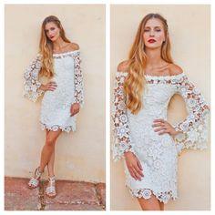 BELL SLEEVE crochet lace dress /  off shoulder neckline / boho hippie wedding mini dress / vintage inspired 70s style