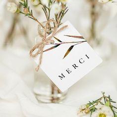 Étiquette de mariage carrée pour embellir chaque carte de remerciement ou votre cadeau-invité #mariage #mariagechampêtre #décorationmariage #mariageDIY