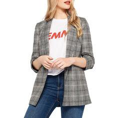 Miss Selfridge Women's Check Ruched Blazer ($59) ❤ liked on Polyvore featuring outerwear, jackets, blazers, grey, grey blazer, open front blazer, checkered blazer, checkered jacket and print jacket