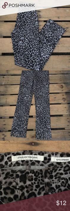 Jones New York Jeans Cute animal print jean. Sutton straight fit. Jones New York Pants