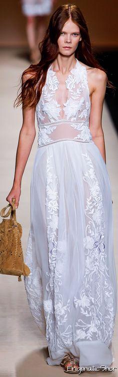 Alberta Ferretti ~ Summer White Embroidered Lace Maxi  2015