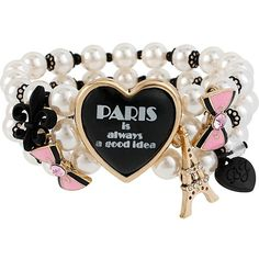 Betsey Johnson Paris Heart Stretch Bracelet ($45) ❤ liked on Polyvore featuring jewelry, bracelets, fleur de lis bracelet, heart jewelry, pandora bracelet, jade bangle and charm jewelry