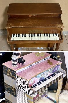 Before and after I screwed up this antique mini piano for kids that was supposed to be a birthday gift for my granddaughter. Click over to the blog to read about my big mistake! Tracey Bellion #traceysfancy Tracey's Fancy Epoxy Resin Pour Epoxy Countertops Sparkly Pink Top Stonecoat Countertops Whimsical Decor Everything But The Kitchen Sink Shabby Chic Decor Funky Furniture Zebra Stripes Redesign With Prima Desing Transfer Damask Stencil Dixie Belle Paint Company Chalk Mineral Paint