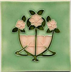 Art Tile - Art Nouveau Flowers, Pink and Green on Light Green Background. Fleurs Art Nouveau, Motifs Art Nouveau, Azulejos Art Nouveau, Design Art Nouveau, Motif Art Deco, Art Nouveau Flowers, Tile Art, Mosaic Art, Mosaic Tiles