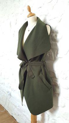 QUIZ Bolero Waterfall Wrap Coat Jacket Gillet Pockets Size 10 12 Dark green VGC #Quiz #Bolero