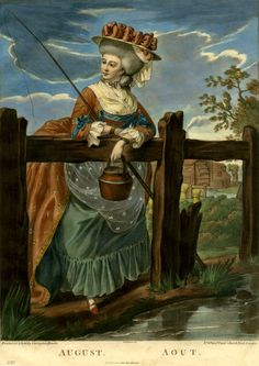 August doesn't give up being fashionable just because she's carrying a bucket of worms. Diary of a Mantua Maker- Twelve Months allegory engraving.