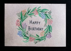 Happy birthday hand drawn greeting card by AmoryPapel on Etsy, $4.00