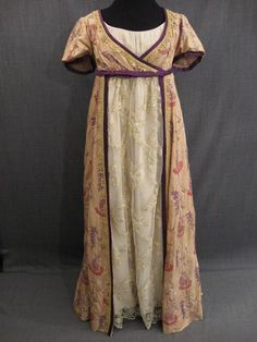 Beautiful spencer/pelisse over layer...09013151 Gown Women's Early 19th C, gold purple pink paisley silk, B38.JPG