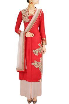 Crimson red zardozi embroidered kurta set BY ANEESH AGARWAL. Shop now at: www.perniaspopups... #perniaspopupshop #designer #stunning #fashion #style #beautiful #happyshopping #love #updates