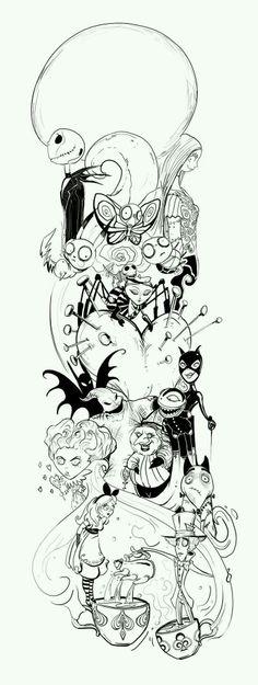 Tatoo Art, Body Art Tattoos, New Tattoos, Collage Tattoo, Tattoo Sketches, Tattoo Drawings, Tatto Alice, Desenhos Tim Burton, Tim Burton Art