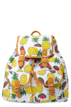 """CUTE PINEAPPLE AND WATERMELON PRINT CANVAS BACKPACK ~Size approx. 15""""(L) x 16""""(H) ~Magnetic closure"""