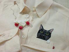 black cat linen shirt again handembroidery for women by ShopGoGo5