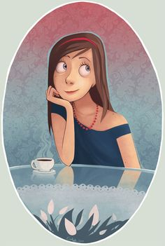 Coffee and cartoon girl