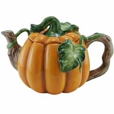 Hot tea...pumpkin pie. This teapot brings us to those delightful images. Make it a reality with this teapot from Kaldun & Bogle, maker of fine ceramic products. From the first snap of cold Autumn weather till we ring in the new year, this teapot will delight all who drink from it. 9.5 x 6 x 6.50