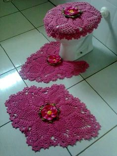 crochet seat toilet cover