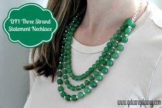DIY Three Strand Beaded Statement Necklace | Get Carey'd Away