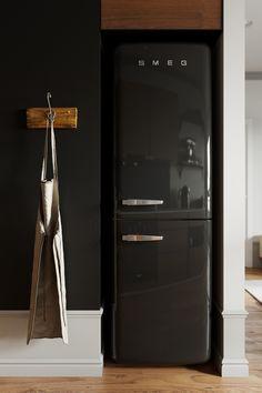 Decorando com a Si : Tendência 2020: armários de nogueira nas cozinha French Door Refrigerator, Small Apartments, Kitchen Appliances, Interior Design, Rich Colors, Kitchens, Trends, Interiors, Diy Kitchen Appliances