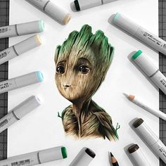 Baby Groot, por Stephen Ward :) #ilustração #groot #babygroot #guardiansofthegalaxy #designerd