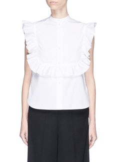 HELMUT LANG Ruffle Bib Sleeveless Cotton Poplin Shirt. #helmutlang #cloth #shirt
