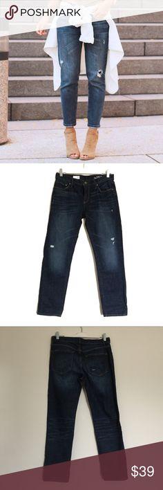 "Gap dark blue distressed sexy boyfriend jeans 26 Excellent condition. Factory distressed. Waist 15.5"", rise 9.5"", inseam 27.5"". 99% cotton, 1% spandex. Bundle to save 25%! GAP Jeans"