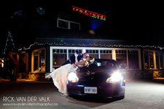 Wedding -A romantic lit shot outdoors at night at wedding venue in Muskoka called Crossroads