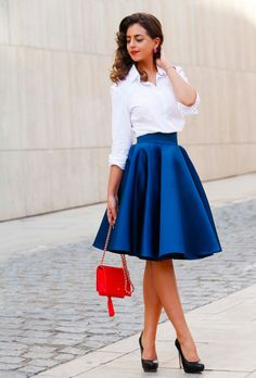 Black Heels White Button-up Blue A-skirt Fall Street Style women fashion outfit clothing stylish apparel closet ideas Trendy Dresses, Nice Dresses, Casual Dresses, Casual Outfits, Dress Outfits, Fashion Dresses, Blue Skirt Outfits, Shirt Outfit, Fall Skirts