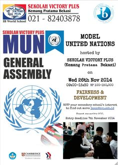 Flyer for SVP Model United Nations role-play simulation co-designed by Hery and Jason