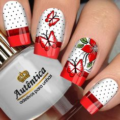 Black Nails With Glitter, Red Nails, Glitter Nails, Butterfly Nail Art, Flower Nail Art, French Nail Designs, Cool Nail Designs, Nagellack Trends, Nails 2018