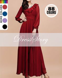 Ruby Maxi Dress  Wine Red Maxi Dress  Long Sleeve by DressStory, $129.99