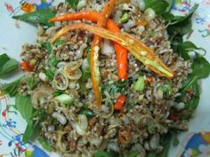 Thai food. Spicy ant eggs