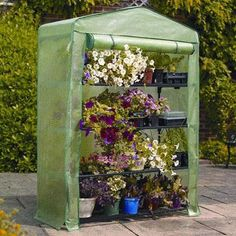 """4-Tier Extra-Wide Mini Greenhouse is 5'3"""" high x 1'6"""" wide x 19"""" deep, Ideal for limited spaces, Includes Shelving, wall fixing rings and guy ropes, Reinforced PE cover, Metal tubular frame."""