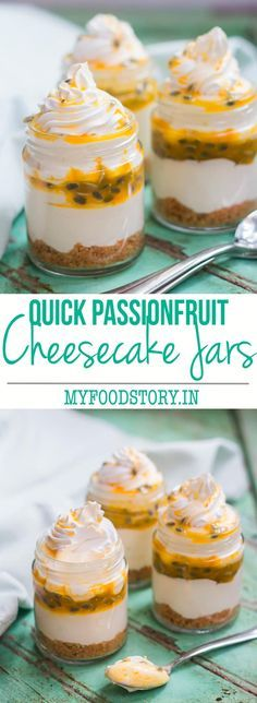 Extremely easy recipe for Passion Fruit flavored single serving cheesecake in a jar which uses only 8 ingredients, are portable and look beautiful at parties. (Baking Cheesecake In A Jar) Passionfruit Cheesecake, Passionfruit Recipes, Cheesecake In A Jar, Cheesecake Recipes, Dessert Recipes, Mini Desserts, Just Desserts, Delicious Desserts, Yummy Food