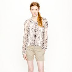 Shop the 4 chino short at J.Crew and see the entire selection of Women's Shorts. Find Women's clothing & accessories at J. Chino Shorts, Women's Shorts, Printed Shorts, Patterned Shorts, New York Travel, Long Shorts, Snake Print, J Crew, My Style