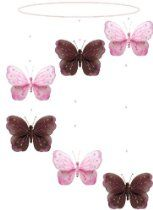 @Erin Koenig  Butterfly Mobile Brown Pink Shimmer Spiral Nylon Butterflies Mobiles Decorations - Decorate for a Baby Nursery Bedroom, Girls Room Hanging   Ceiling Decor, Wedding Birthday Party, Bridal Baby Shower, Bathroom. Butterfly Decoration 3D Art Craft