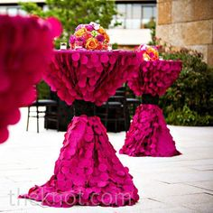 Hot Pink/Fuchsia Covered Cocktail Tables for Wedding Reception Wedding Events, Wedding Reception, Our Wedding, Wedding Tables, Wedding Bells, Wedding Lounge, Wedding Pins, Wedding Details, Reception Decorations