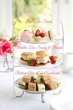 How to Serve an Easy Afternoon Tea - Sandwiches & High Tea - Tea Tea Party Menu, Tea Party Bridal Shower, Tea Party Desserts, Tea Party Foods, Food For Tea Party, Wedding Showers, Tea Party Cakes, Party Food Buffet, Tea Party Table