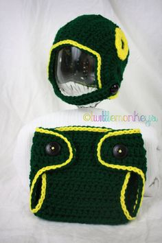 840329f669c Newborn Crochet Football Helmet Diaper Cover SET - University of Oregon