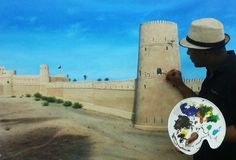 #OmanInPictures | Jalan Bani Bu Hassan Fort with artist. credit: Saleh Al Alawi. see on Fb https://www.facebook.com/SinbadsOmanPocketGuide #Oman #TravelToOman #Travel